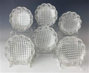 6 American Brilliant Cut Crystal Fan Diamond Bowls