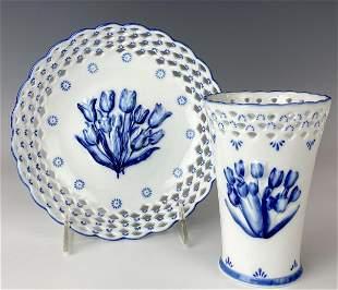 Delft Dutch Painted Porcelain Tulip Vase Dish Bowl