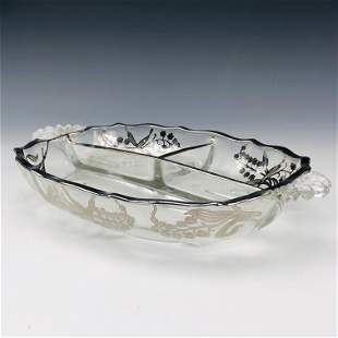 Sterling Overlay Divided Glass Serving Dish Bowl