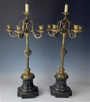 Pr French Style Bronze Marble Mantle Candelabras