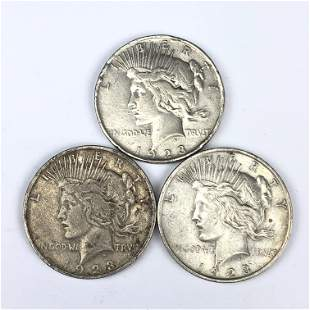 Collection 3 x 1923 Peace Dollar $1 Silver Coins