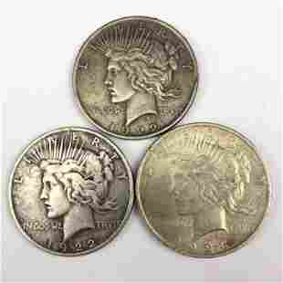 Lot 3 1922 1923 Peace 90% Silver $1 Dollar Coins