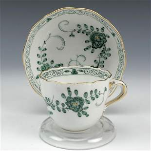 Meissen Porcelain Floral Demitasse Cup Saucer Set