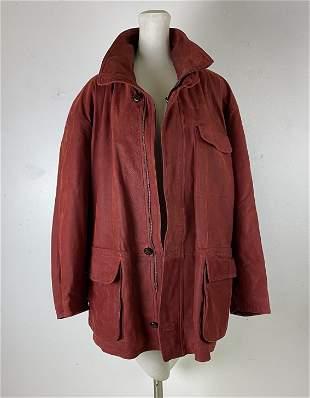 Bijan Italy Red Leather Men's Designer Coat Jacket