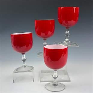 4 Carlo Moretti Mid Century Art Glass Wine Goblets