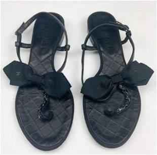 Chanel Black Leather CC Flats Thong Sandals Sz 37