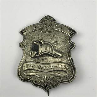 Antique Ithaca New York Fire Department Badge Pin