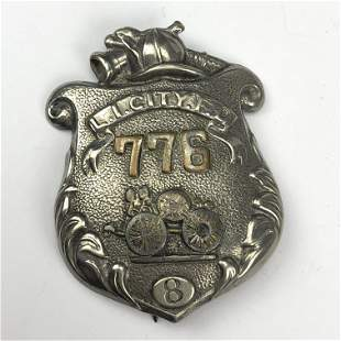 Long Island City Fire Dept Firemens Badge Pin #776