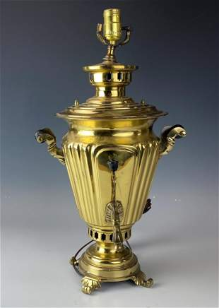 Antique Russian Solid Brass Samovar Urn Table Lamp
