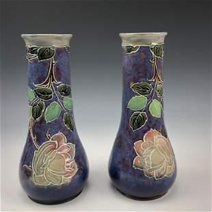 Pr Royal Doulton Lambeth Art Nouveau Floral Vases
