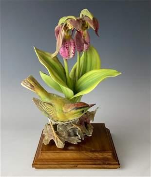 Royal Worcester Porcelain Ovenbird Orchid Figurine