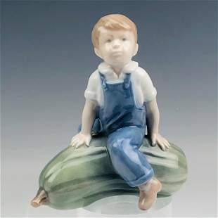 Royal Copenhagen Boy w/ Pumpkin # 4539 Figurine