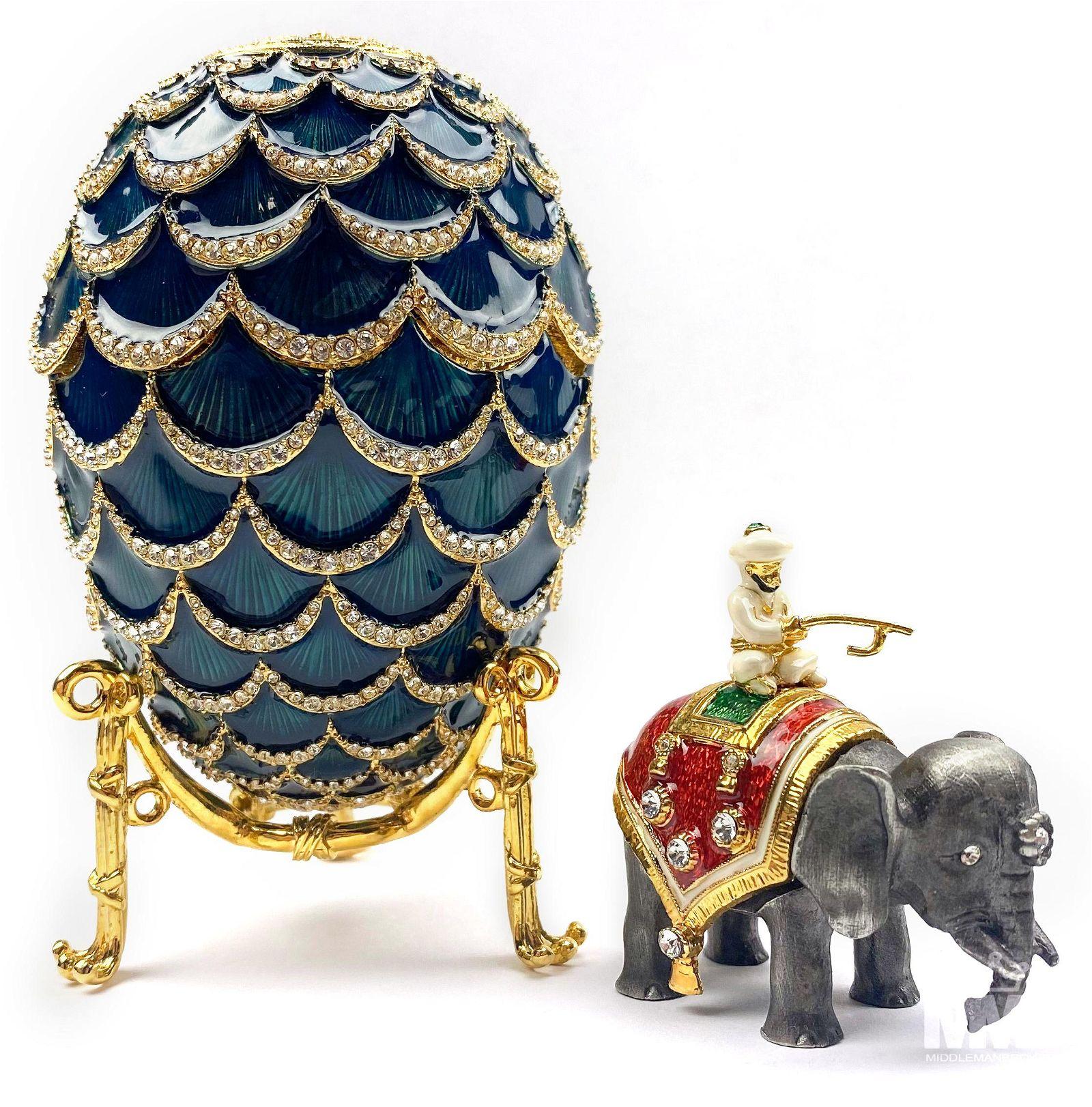 FABERGE Imperial Blue Enamel Pine Cone Egg w/ Box