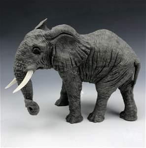 Faberge Style Gray Jasper Stone Elephant Sculpture