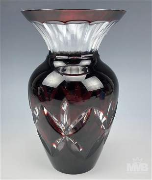 """FABERGE Petit Red Cut Crystal Glass Signed 8"""" Vase"""