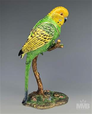 Jere Luxury Bejeweled Parrot on Branch Trinket Box