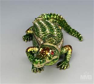 Jere Luxury Bejeweled Alligator & Baby Trinket Box