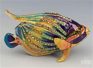 Jere Luxury Jeweled Kaleidoscope Fish Trinket Box
