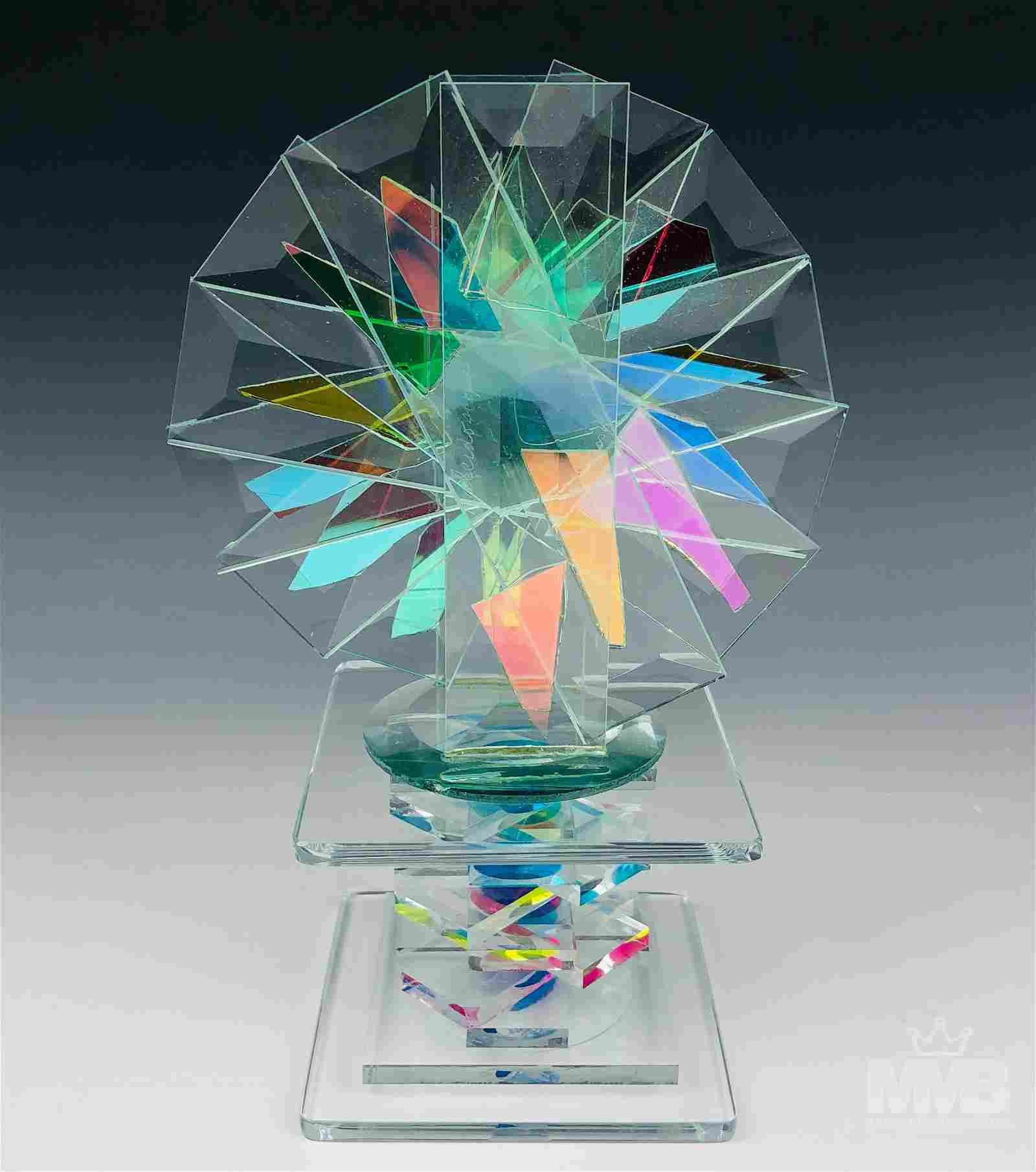 """Jan Cassidy 9"""" Modern Kaleidoscope Glass Sculpture"""