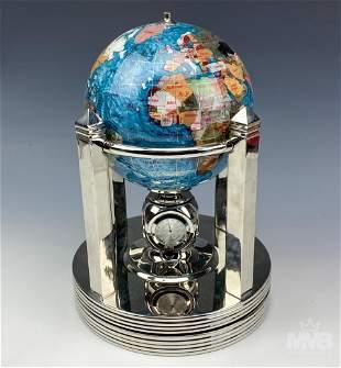 Semi-Precious Stone Rotating Thermometer and Globe