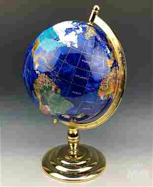Semi-Precious Stone Brass Table Top Rotating Globe