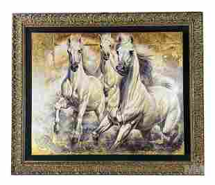 Janice Darr Cua Wild White Horses Painting Giclee