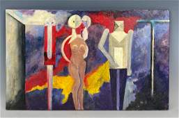 Modern Abstract Oil Painting after Rufino Tamayo