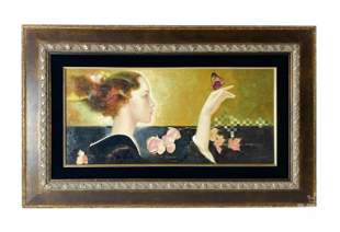 Felix Mas b.1935 Woman and Butterfly Signed Giclee