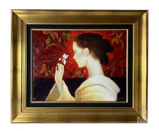 Felix Mas (b.1935) Woman and Orchid Signed Giclee