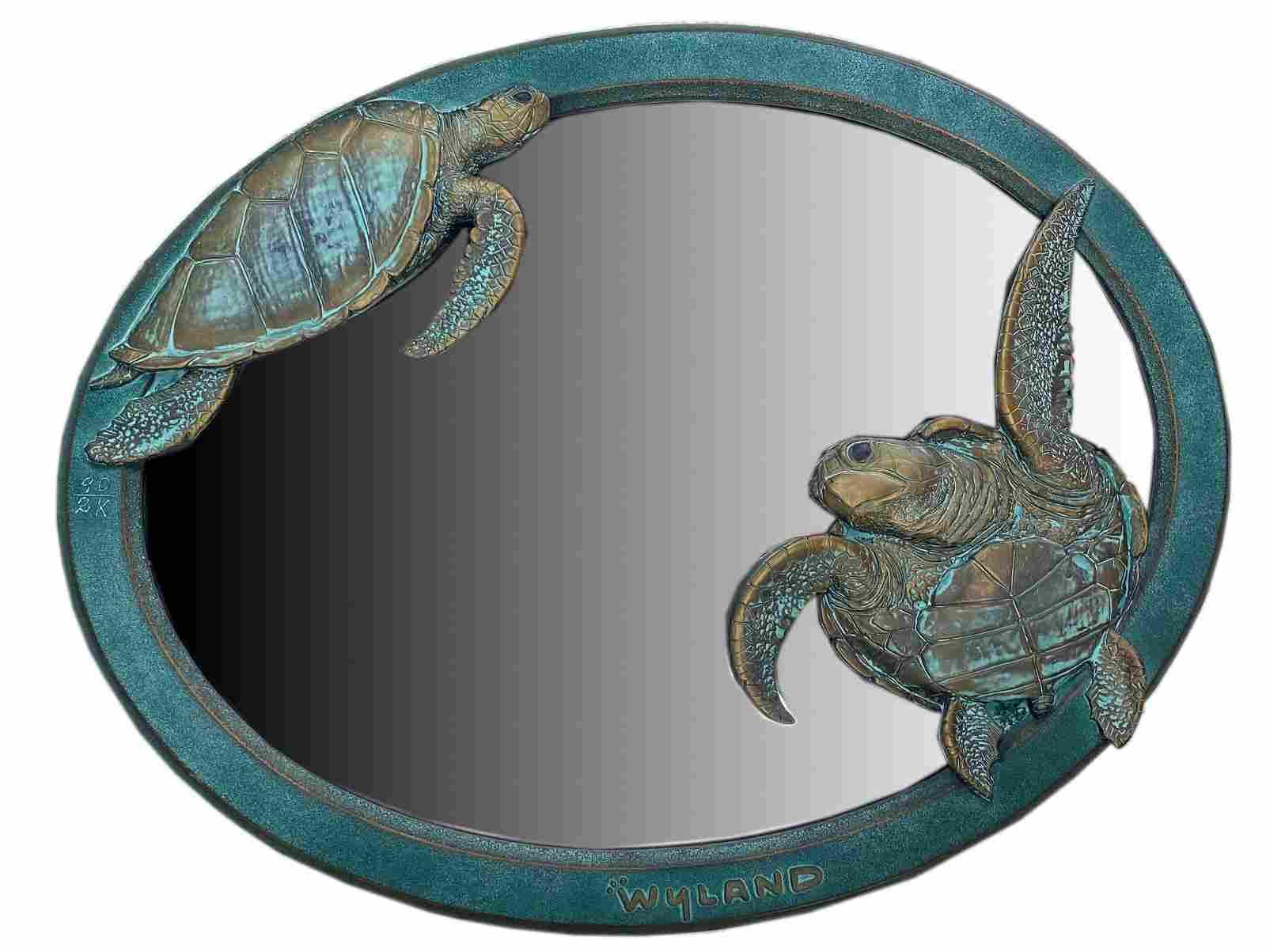 Robert Wyland LE Framed Decorative Turtle Mirror