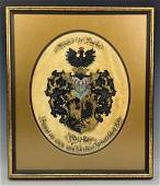 Antique Coat of Arms Family Crest Painting on Skin