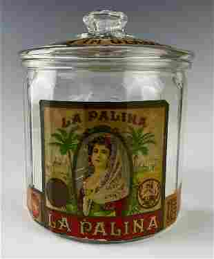 La Palina Cigar Tobacco Lidded Glass Humidor Jar
