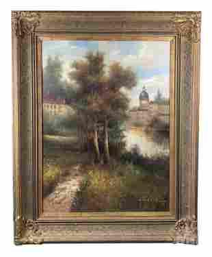 W. Eddie (b.1955) Signed Lake Landscape Painting