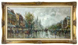 Parisian Street Impressionist Cityscape Painting