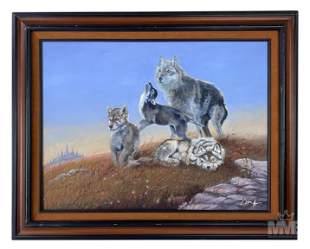 20th Century Signed Wildlife Wolves Oil Painting