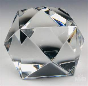 """Baccarat Crystal Glass 3"""" Geometrical Paperweight"""