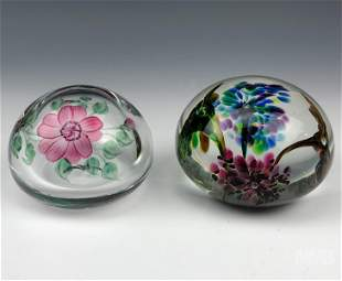 Flower Hand Blown Studio Art Glass Paperweight Lot