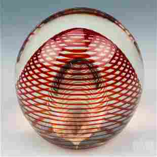 Red Bubble Swirl Studio Art Glass Paperweight