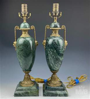 Neoclassical Green Marble & Bronze Urn Lamps Pair