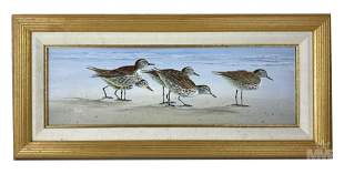 Biuks Signed Seascape Sandpiper Birds Oil Painting