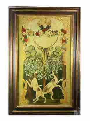 Tava Allegorical Hounds & Deer Stag Hunting Giclee