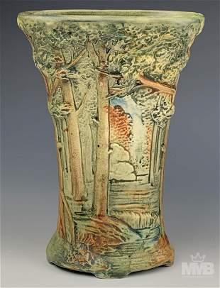 """Weller Pottery Forest Landscape Art Deco 8"""" Vase"""