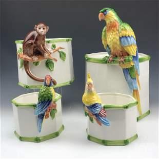 Grosselle Italian Porcelain Planter Vase Group Lot