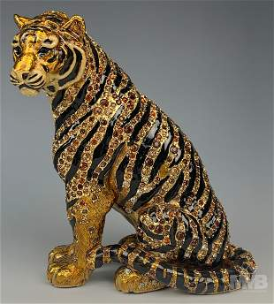 Jay Strongwater Style Enamel Seated Tiger Figurine