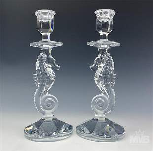Waterford Pair Crystal Glass Seahorse Candlesticks