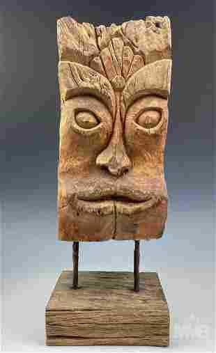 Outsider Art Carved Wooden Folk Art Bust Sculpture