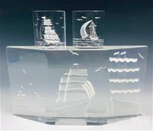 Michael Cox Etched Sailboat Lucite Sculpture Group