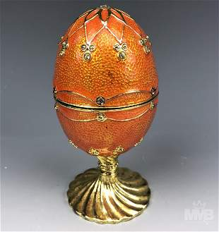 Enameled Orange Imperial Egg Jewelry Trinket Box