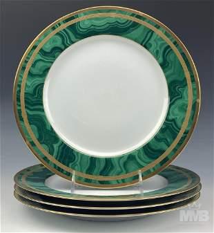 Christian Dior Set Of 4 Malachite Dinner Plates