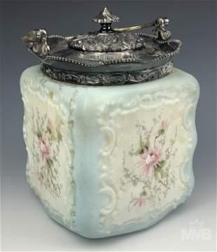 Wavecrest Antique Painted Floral Glass Cookie Jar